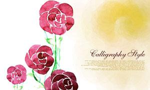 水彩手繪紅色花卉植物PSD分層素材