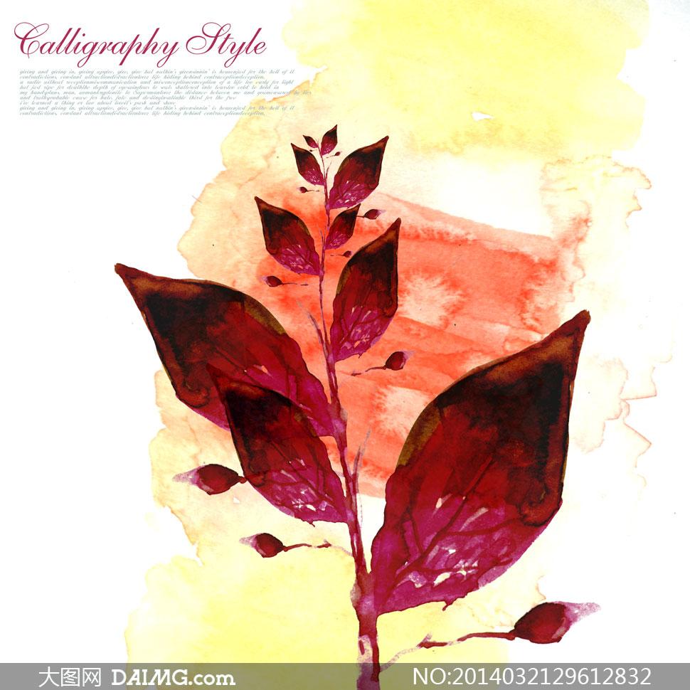 手绘树叶与水彩墨迹等psd分层素材