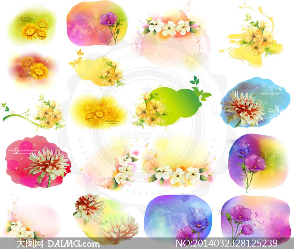 素材krtk水彩手绘彩绘边框花朵花卉藤蔓花藤植物背景_中美韩式效果图