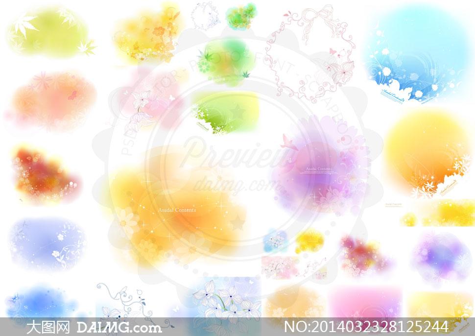 素描花朵唯美时尚图案设计矢量素材