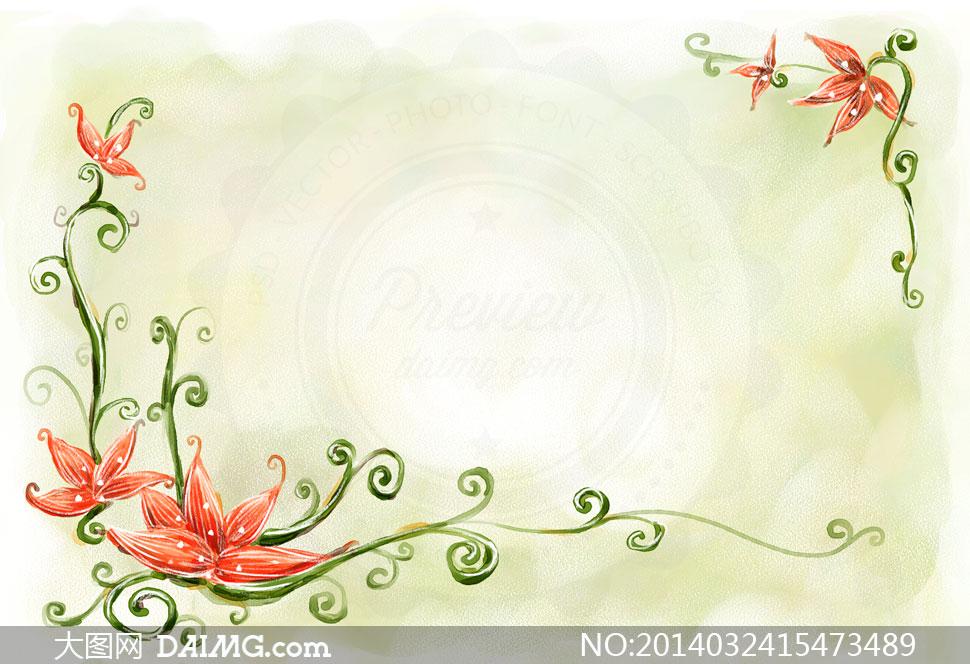 水彩手绘风格花卉边框psd分层素材
