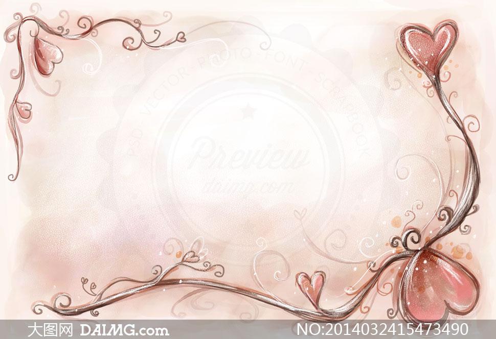 韩国素材krtk水彩手绘彩绘边框花朵花卉藤蔓花藤植物心形桃心背景花纹