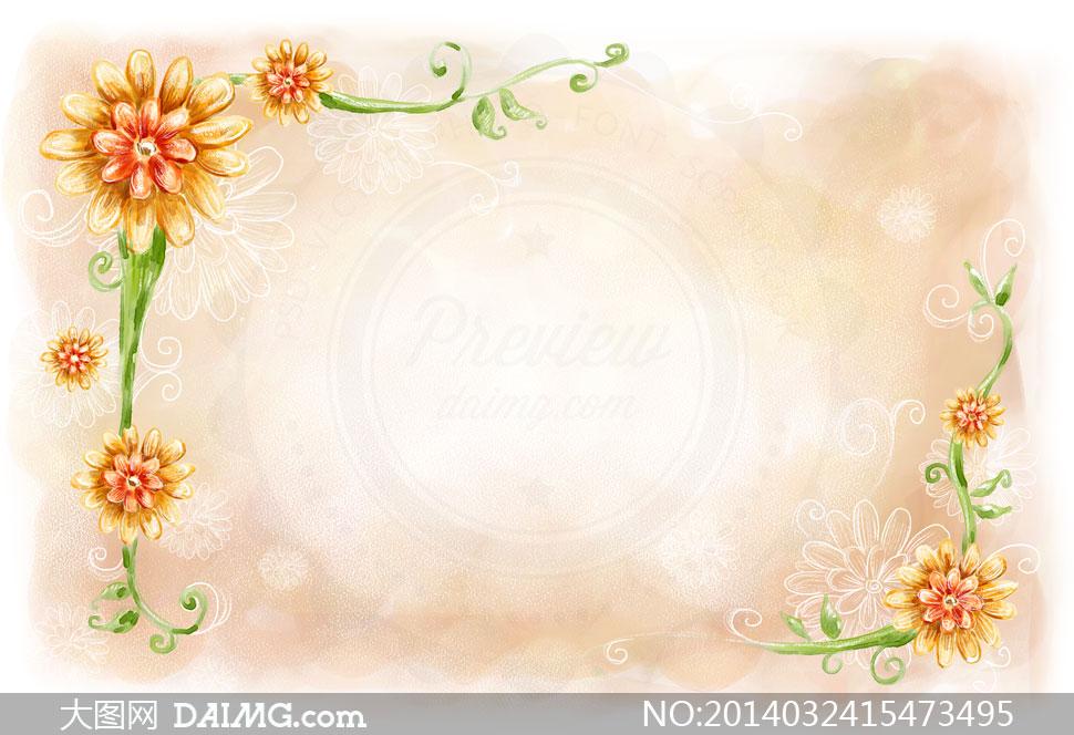 手绘风格花朵边框设计psd分层素材