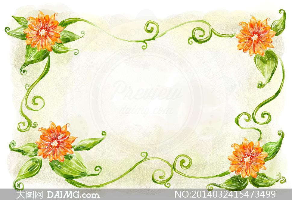 水彩手绘彩绘边框花朵花卉藤蔓花藤植物插画绿叶背景