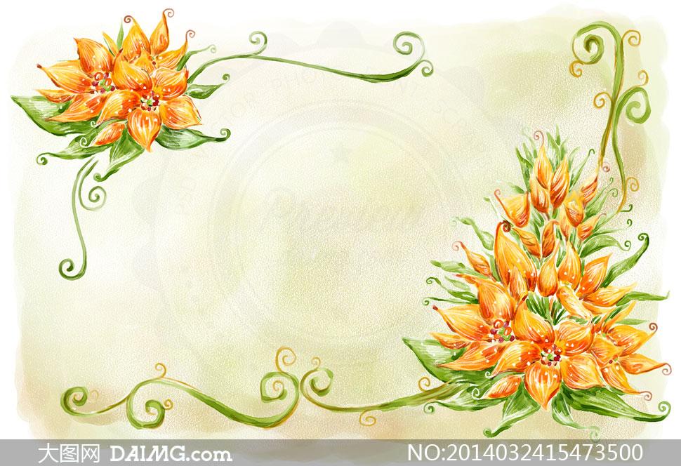 花藤边框简笔画-用花朵藤蔓组成的边框PSD分层素材