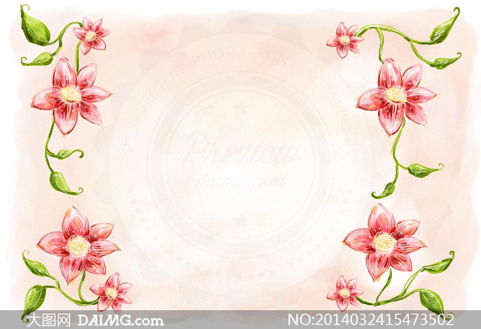 水彩手绘花朵绿叶边框psd分层素材