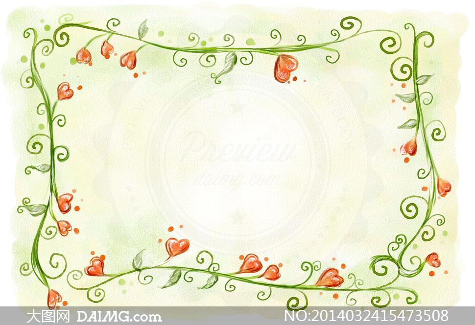 手绘风格花朵藤蔓边框psd分层素材