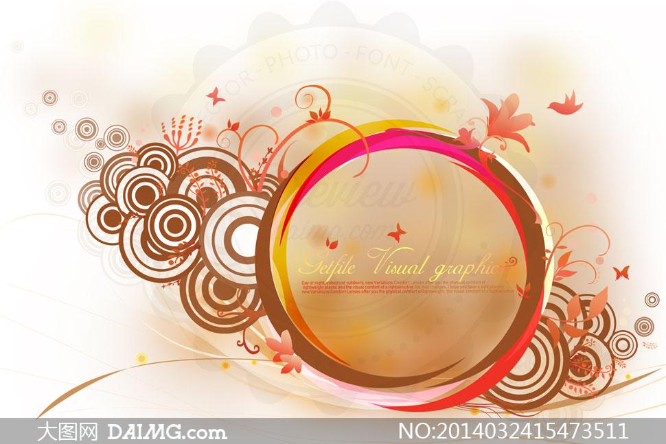 psd分层素材韩国素材krtk创意设计边框装饰图案花朵花纹圆圈圆形圆环