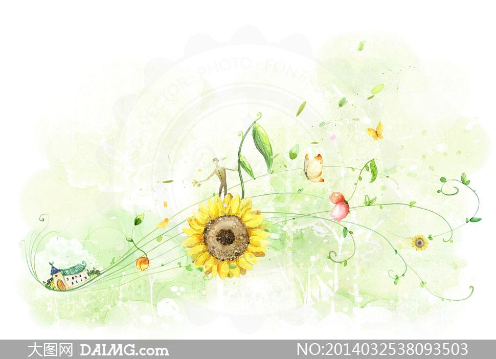 房子花朵与藤蔓植物等psd分层素材
