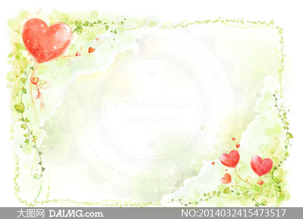韩国素材krtk水彩手绘彩绘边框花朵花卉藤蔓花藤植物插画心形桃心唯美