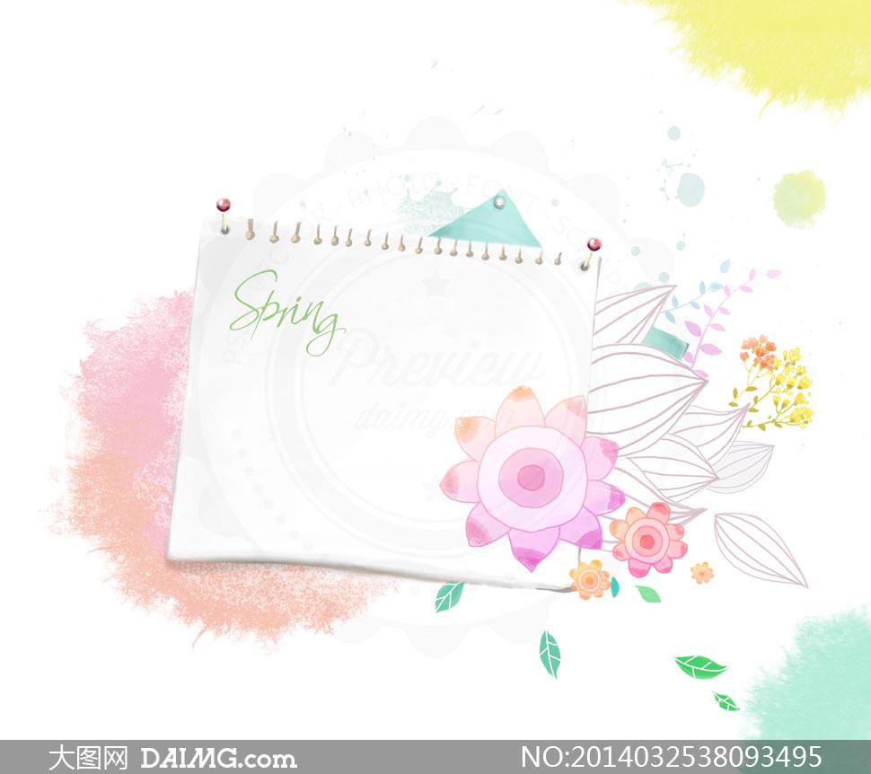 水彩手绘彩绘墨迹