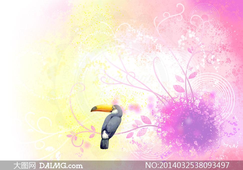 花纹鹦鹉与水彩背景等psd分层素材