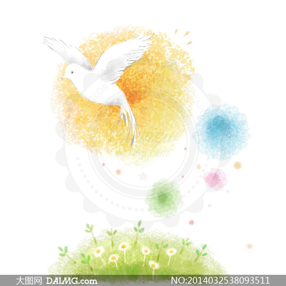 水彩手绘彩绘花朵花卉植物花草花丛草丛鸽子白鸽图案