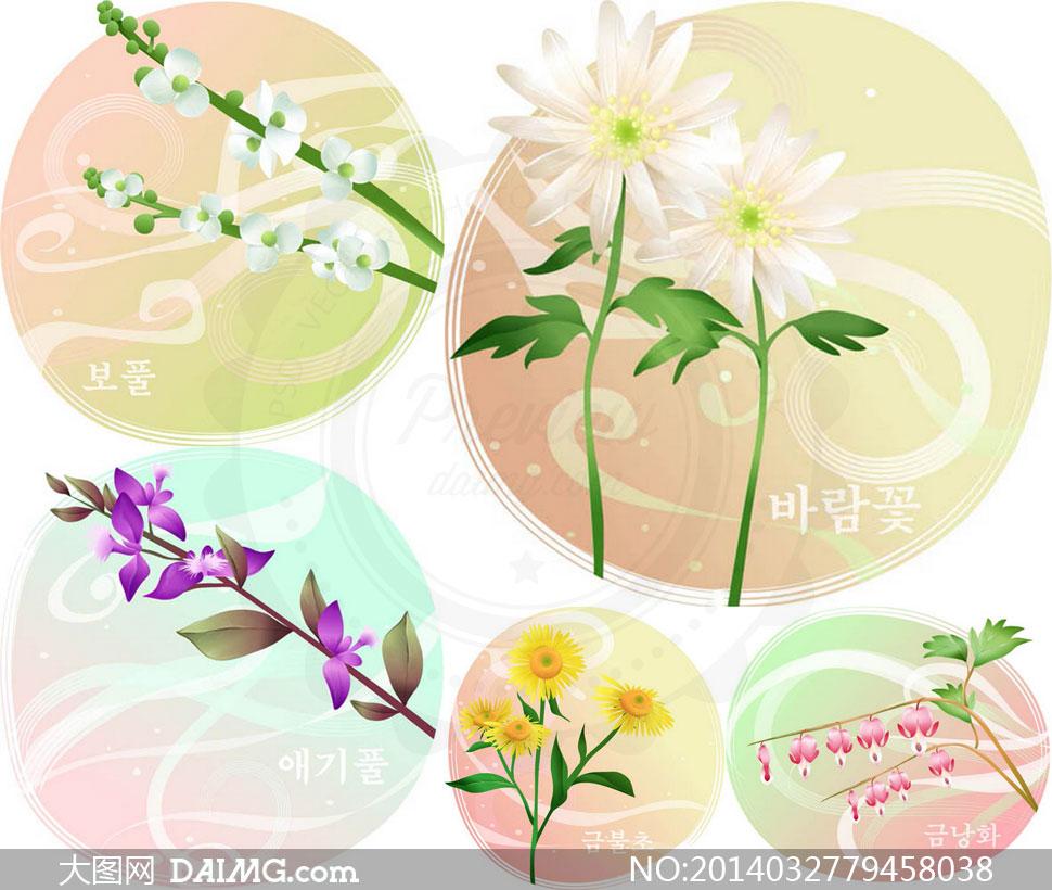 花卉花枝植物圆形底纹背景矢量素材