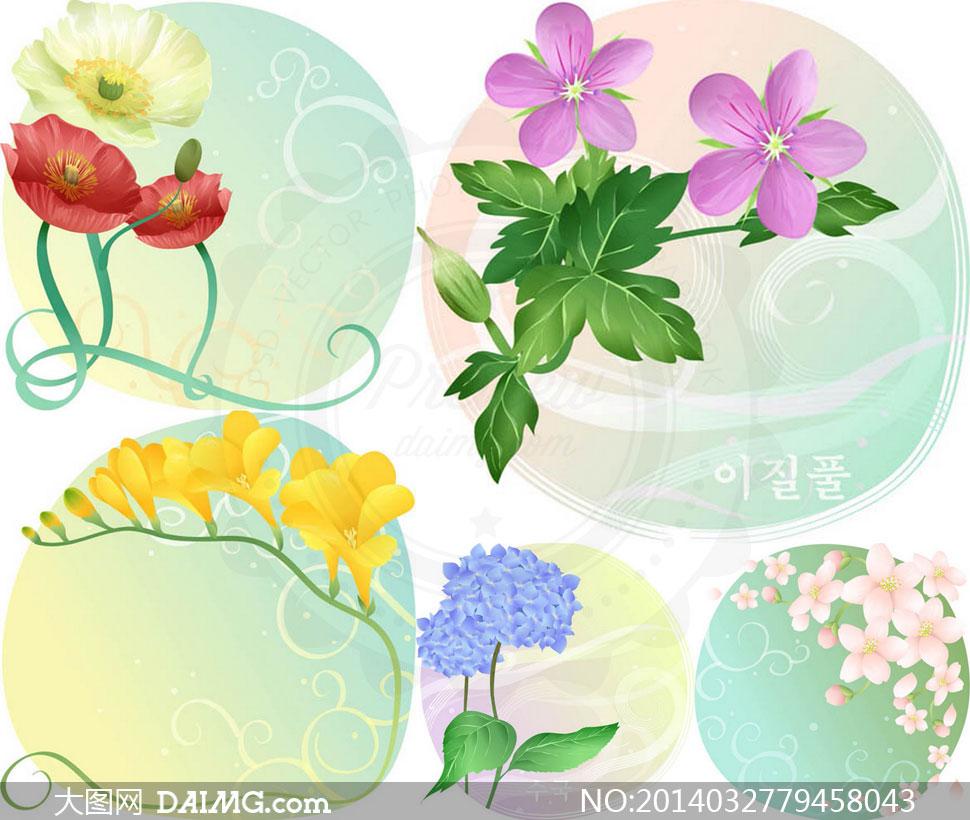 鲜艳多彩花卉植物底纹背景矢量素材