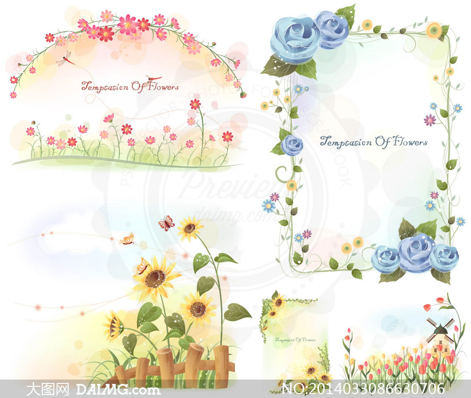 郁金香与玫瑰花等花卉边框矢量素材