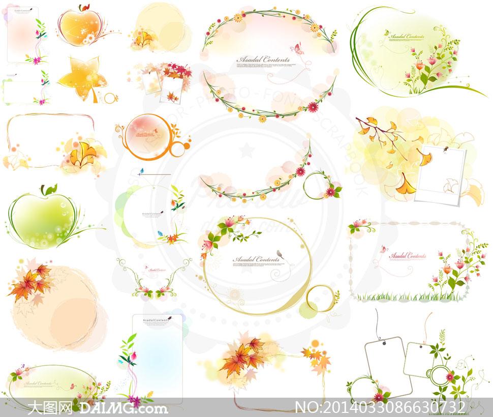 绿叶边框花朵圆圈小鸟元素矢量素材 大图网设计