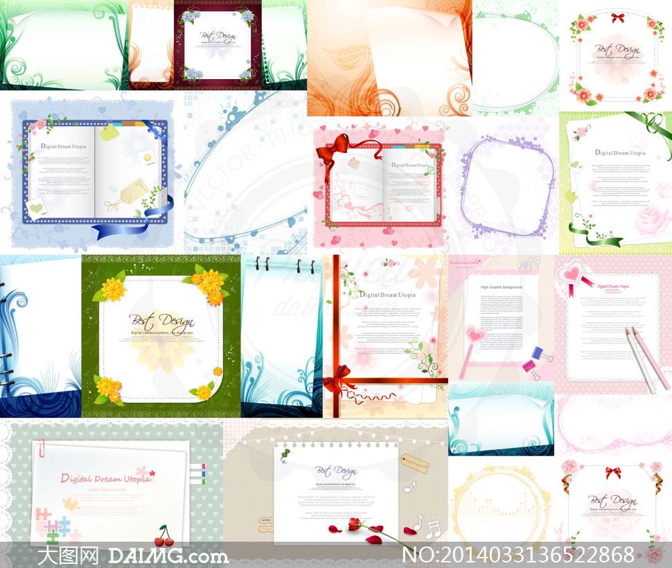 花纹边框蝴蝶结装饰图案等矢量素材