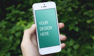 手里拿着iPhone效果展示设计模板