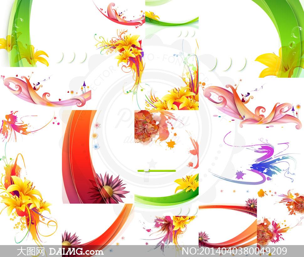 花朵线条与水彩泼墨效果等矢量素材
