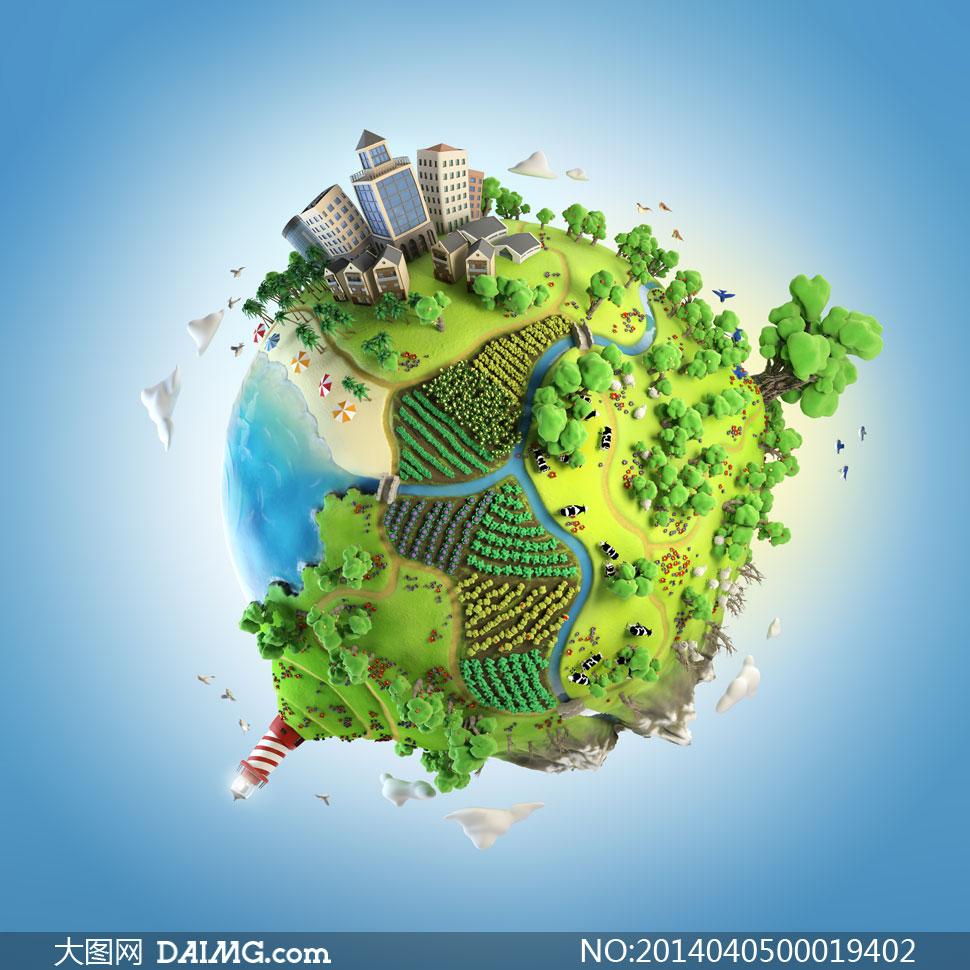 创意的3d绿色地球设计图片素材图片