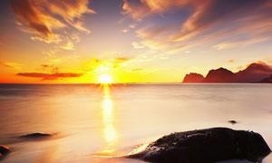 沙滩日落美景摄影图片