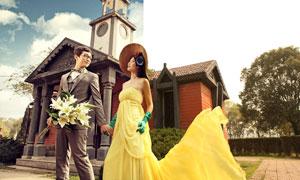 婚紗照片添加藍天云彩背景PSD圖層