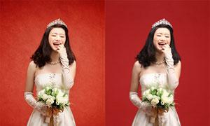 婚片美化和添加古典背景PSD圖層