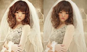 美女新娘古典膚色效果PSD圖層