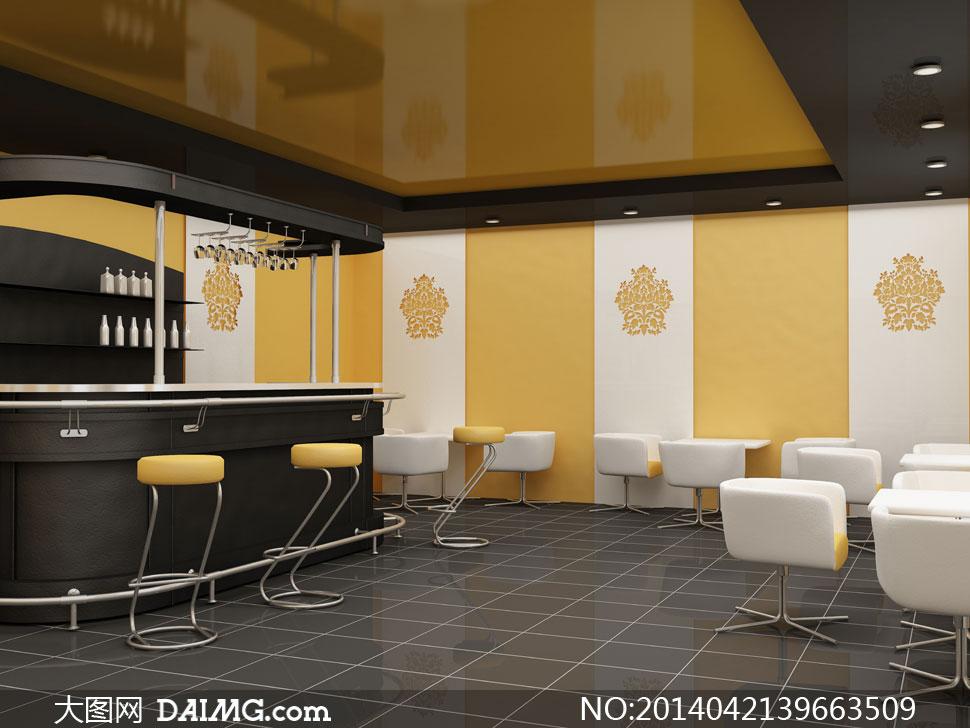 咖啡馆吧台等装修效果摄影高清图片