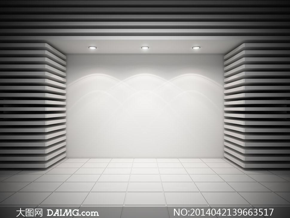 灰色场景下的灯光照明效果高清图片