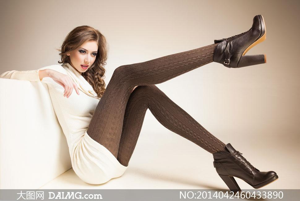 穿棕色丝袜的美女模特摄影高清图片 大图网设