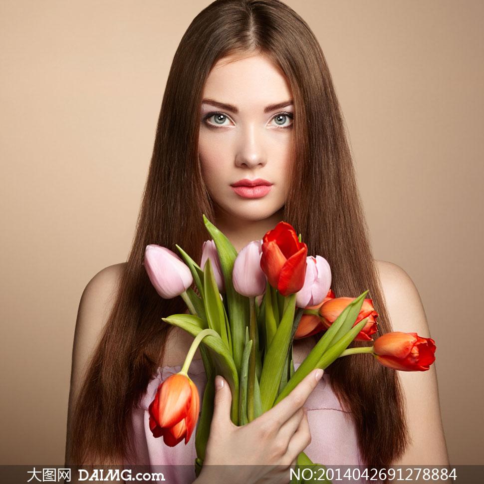 唇妆红唇玫瑰花郁金香鲜花花朵露肩裸肩鲜花花朵中分