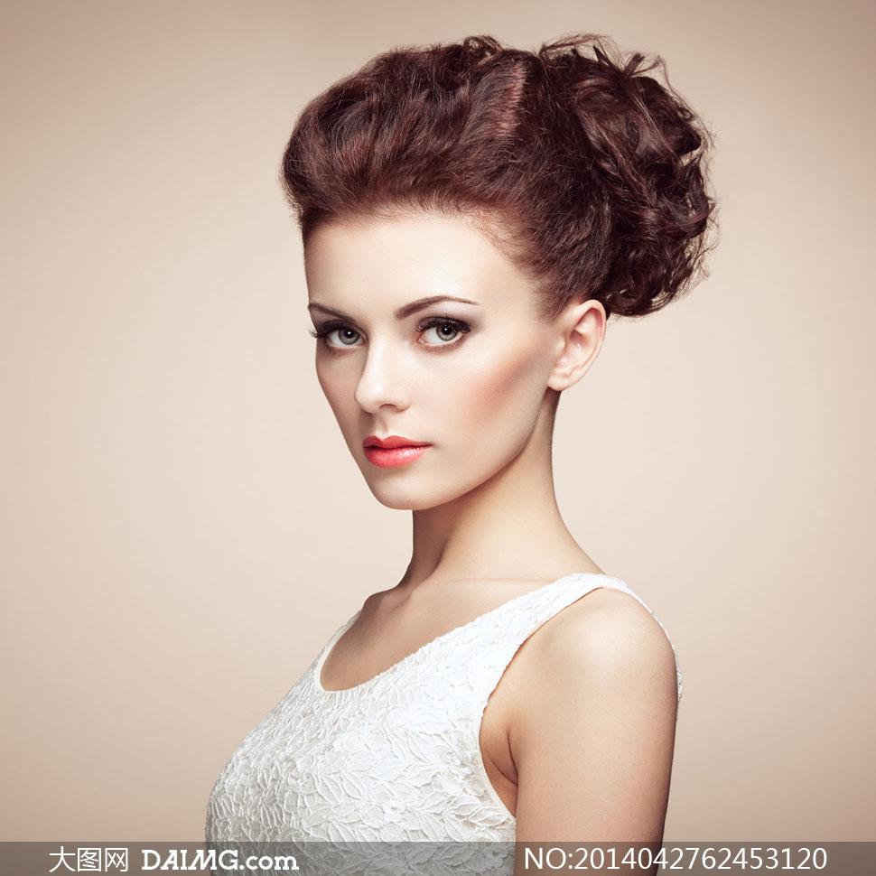 盘头美妆美女模特人物摄影高清图片