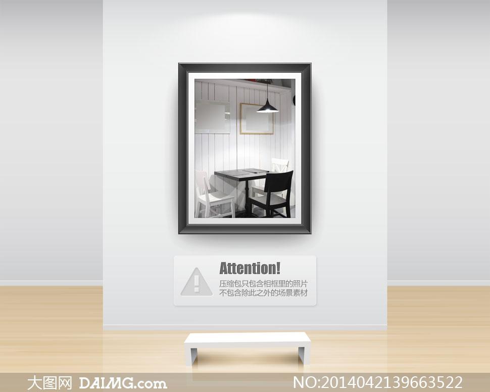 房间灯光下的桌子椅子摄影高清图片