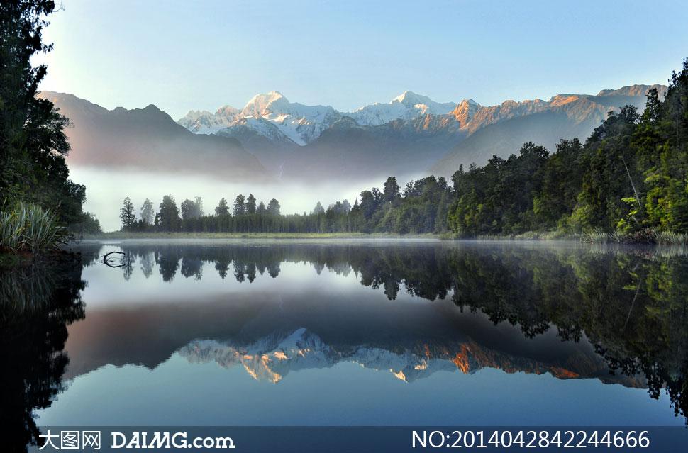 大片树林山水自然风光摄影高清图片