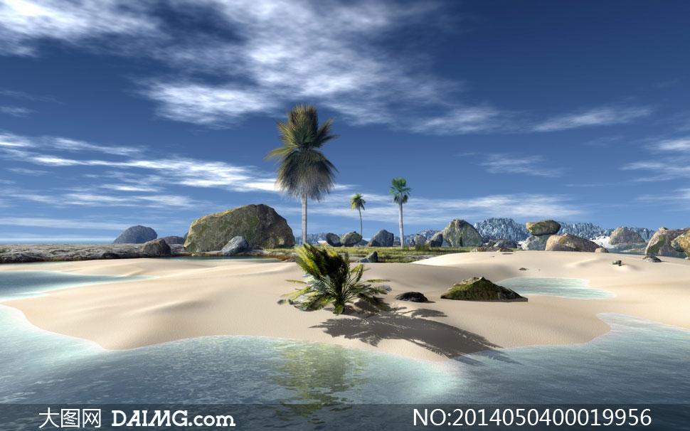 唯美的海边沙滩美丽风光摄影图片