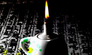 煤油灯与彩色的圆点等PSD分层素材