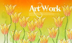 水彩背景與郁金香花朵PSD分層素材