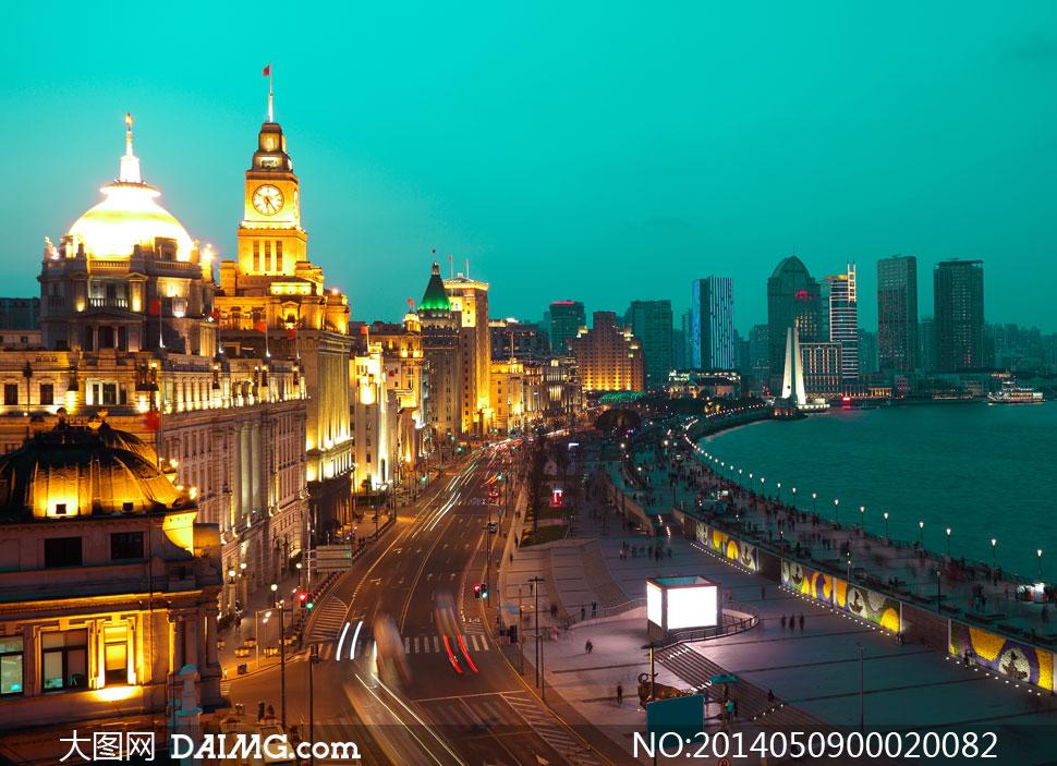 上海夜景上海外滩欧式建筑建筑物高楼大厦