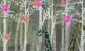 树林鲜花与长颈鹿图案PSD分层素材