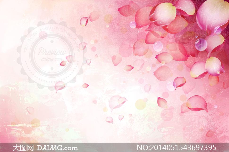 泡泡元素与粉红色花瓣psd分层素材