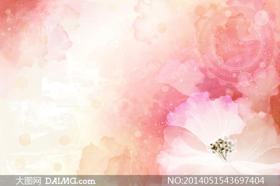 水彩背景与粉红色花瓣psd分层素材