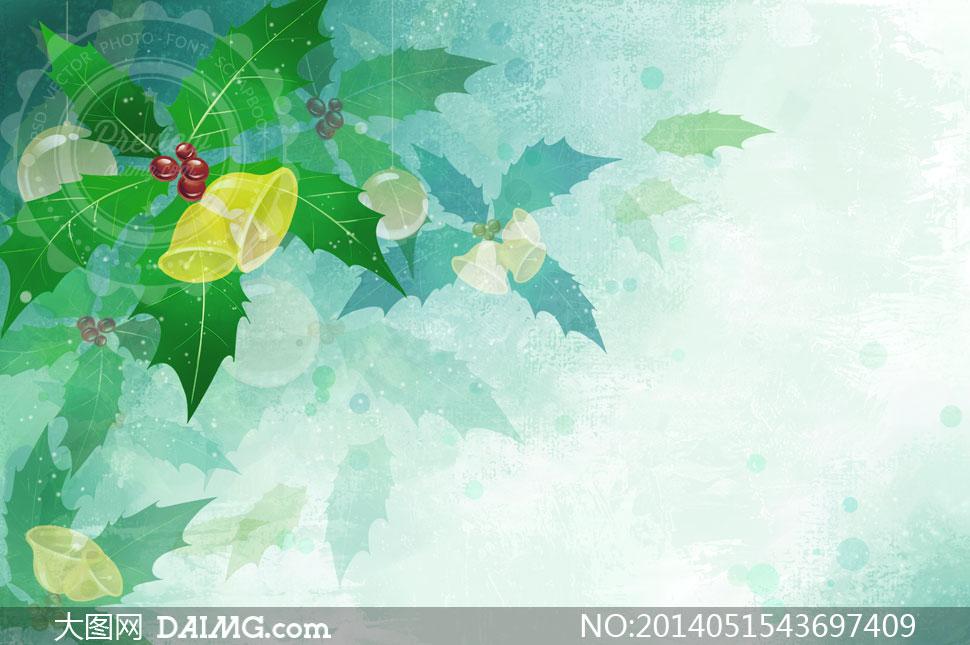 圣诞节铃铛与绿色树叶psd分层素材