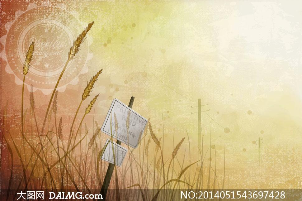 竖在麦田丛中的小木牌psd分层素材