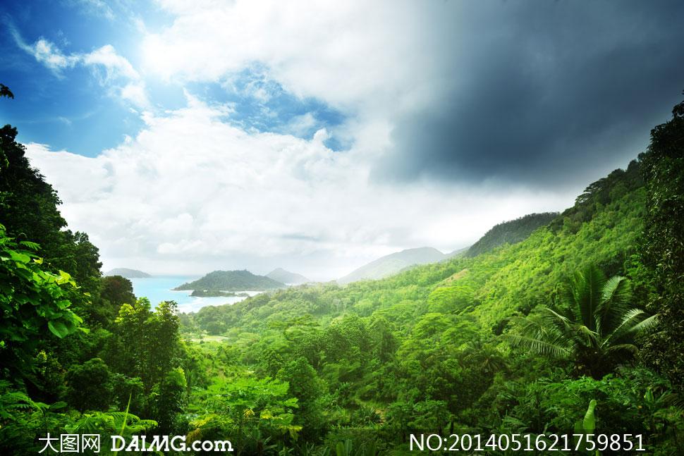 天空云彩与海边山野等摄影高清图片