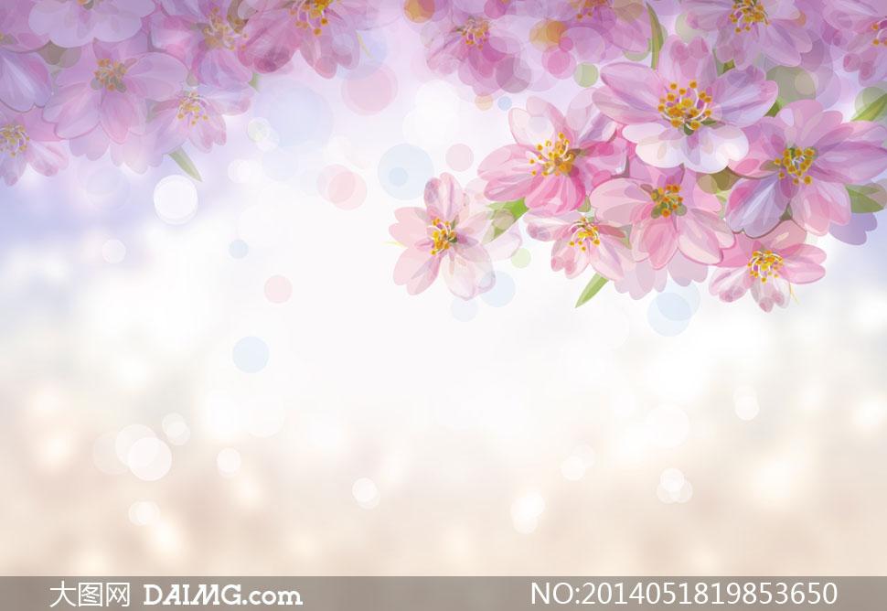 梦幻唯美花朵散景创意设计高清图片