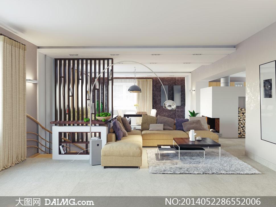 客厅里的沙发与隔断等摄影高清图片