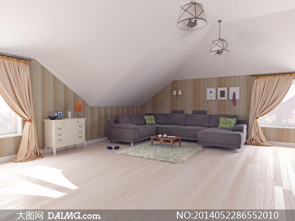 房间里的吊灯沙发家具摄影高清图片