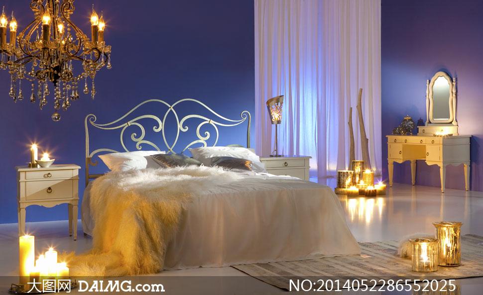 房间卧室大床双人床铁艺梳妆台梳妆桌欧式床头柜吊灯